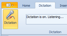 Click the Dictation Button and start talking to add text to your documents.