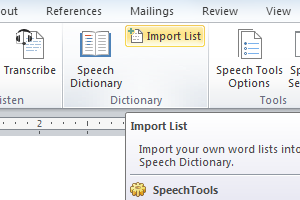 Import your own vocabulary lists into the Custom Speech Dictionary.