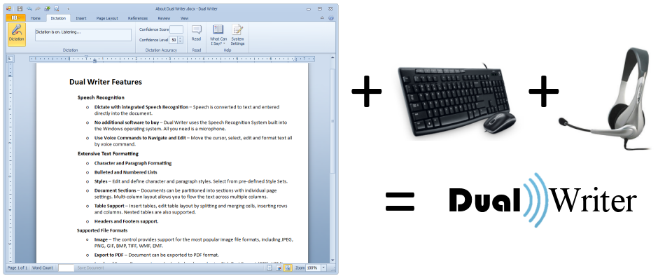 Word Processor plus keyboard plus microphone equals Dual Writer.