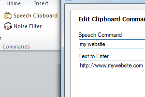 The Speech Clipboard lets you enter frequently used text with a voice command.