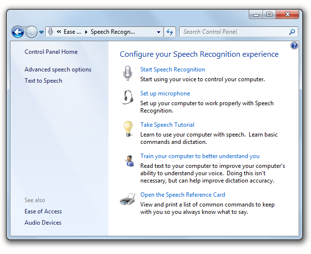 The Speech Recognition Control Panel