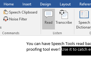 Catch errors in your Word documents with Speech Tools Read command.