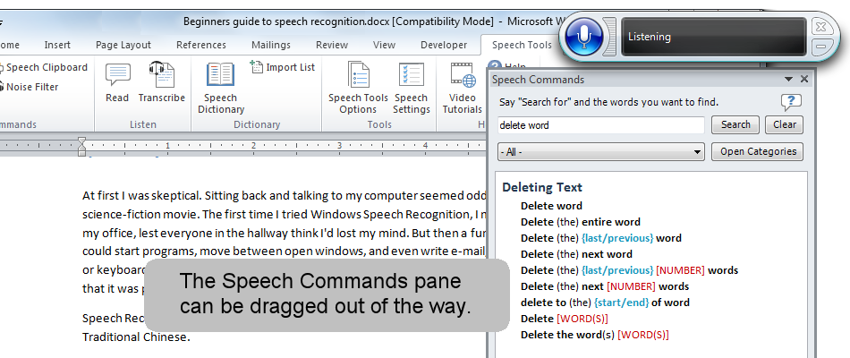 The Speech Commands pane can be dragged out of the way.