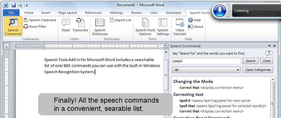 Finally! All the dictation commands in a convenient, searchable list.