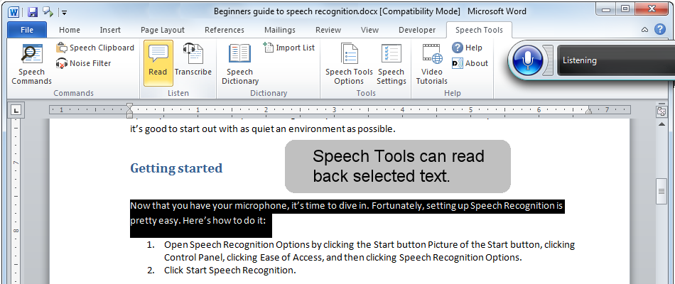 Use Speech Tools Read feature for proofing your documents.