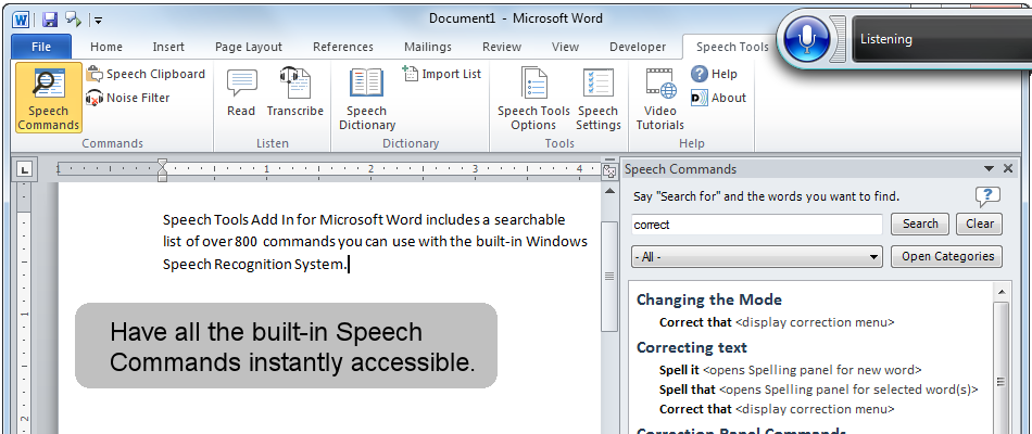 Have all the Windows Speech Recognition commands instantly accessible.