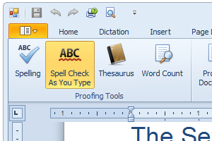 Dual Writer includes a built-in spell checker and thesaurus.