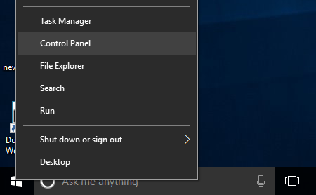 Windows 10 Start Button Menu