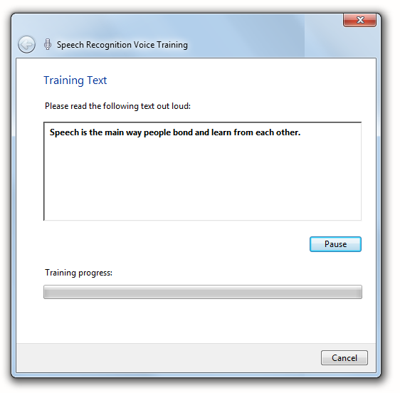 Voice training in the Speech Recognition control panel